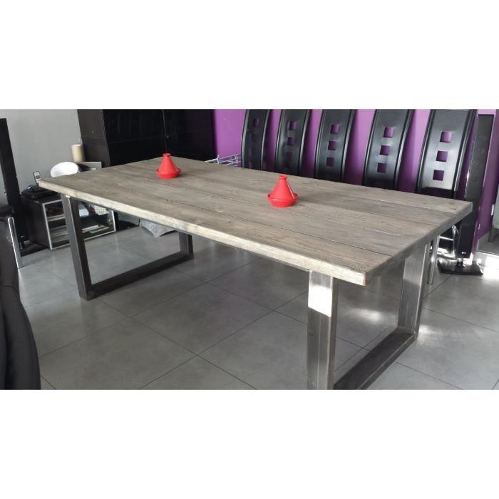 Table de salle manger industriel acier et bois achat for Table de salle a manger grise