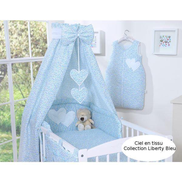 Ciel de lit b b en tissu liberty bleu coeurs achat vente ciel de lit b b ciel de lit - Ciel de lit bleu ...