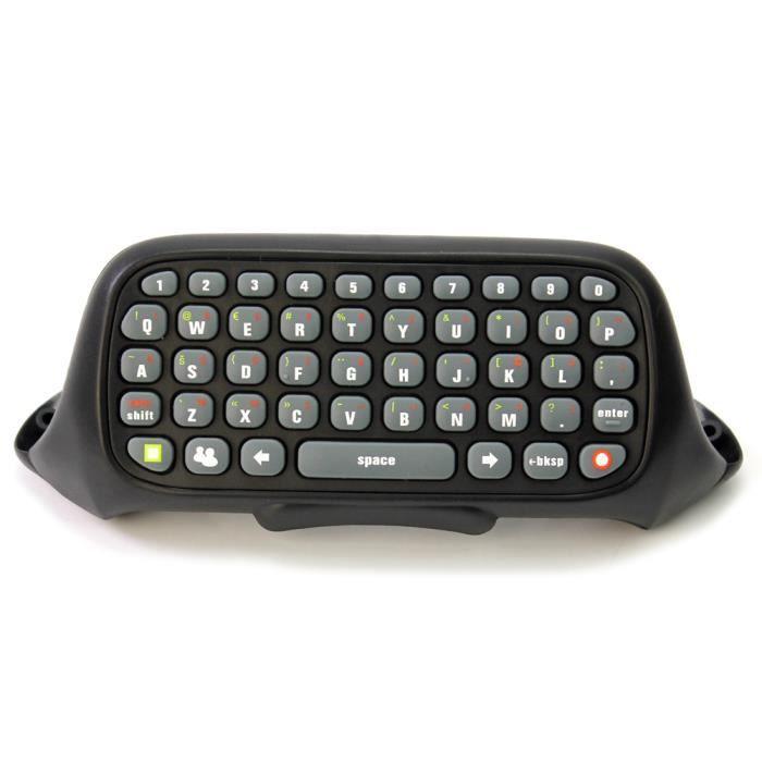 Clavier keyboard messager sans fil noir abs pour for Manette xbox 360 pas cher sans fil