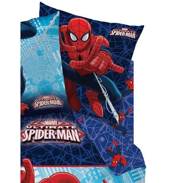 drap housse spiderman action pour lit 1 personne achat. Black Bedroom Furniture Sets. Home Design Ideas
