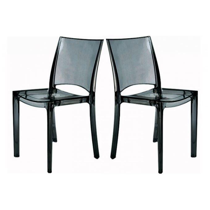lot de 2 chaises fum e transparente crystal achat vente chaise polycarbonate les soldes. Black Bedroom Furniture Sets. Home Design Ideas