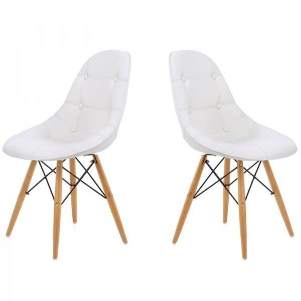chaise sunny capitonnee blanc lot de 2 achat vente chaise bois h tre pvc cdiscount. Black Bedroom Furniture Sets. Home Design Ideas
