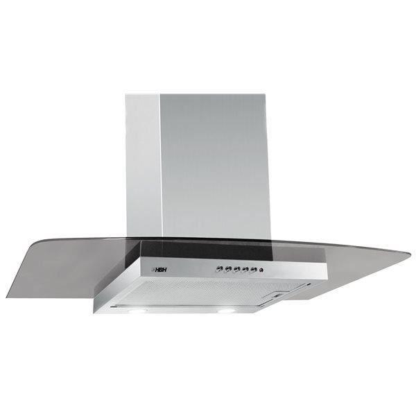 Hotte aspirante de cuisine verre et inox 60 cm 650 m3 h for Hotte decorative 60 cm inox