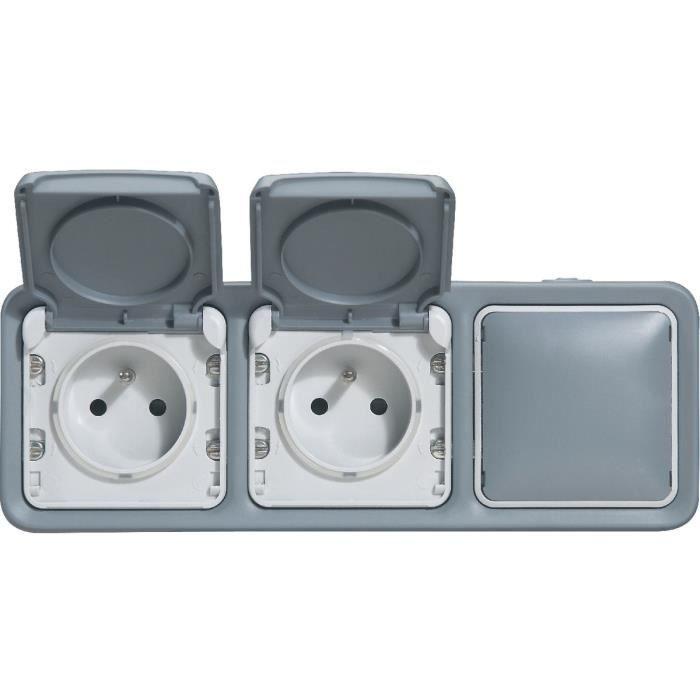 legrand prises de courant 2x2p t avec obturateurs horizontaux plexo gris achat vente prise. Black Bedroom Furniture Sets. Home Design Ideas