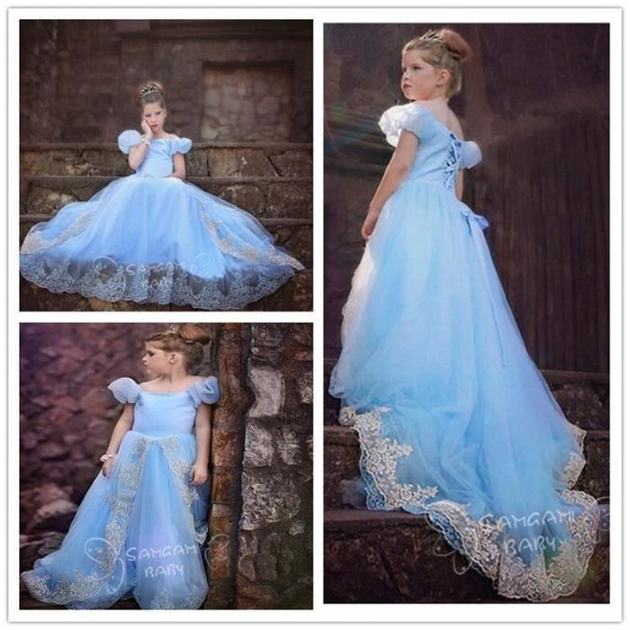 costume de princesse bleu pour petite fille robe longue deguisement 4 8 ans bleu achat. Black Bedroom Furniture Sets. Home Design Ideas