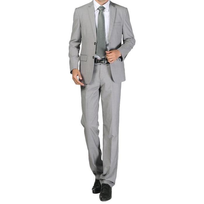 costume d 39 affaires hommes chic costume deux bou gris clair achat vente costume tailleur. Black Bedroom Furniture Sets. Home Design Ideas