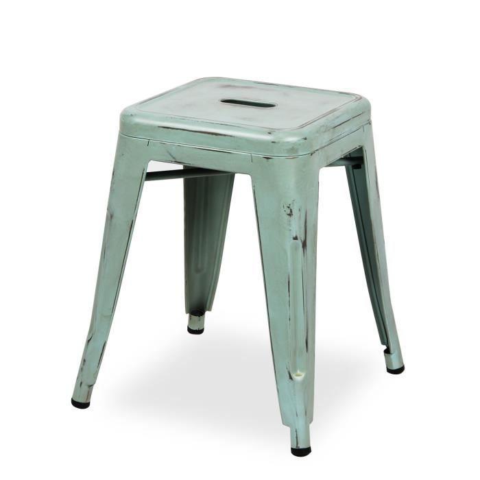 tabouret ural vintage metal color edition bleu unica achat vente tabouret bleu les soldes. Black Bedroom Furniture Sets. Home Design Ideas
