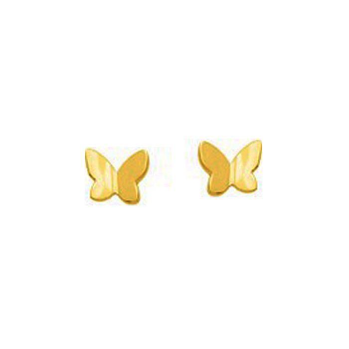 boucles d 39 oreilles enfant papillon en or jaune achat vente boucle d 39 oreille boucles d. Black Bedroom Furniture Sets. Home Design Ideas