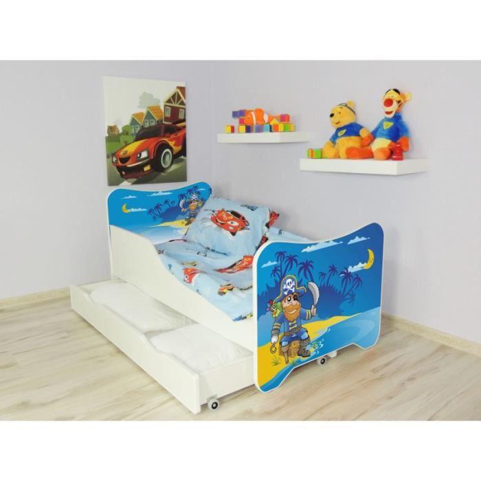 Lit enfant et b b 144 x 76 cm avec matelas et tiroirs vieux pirate achat - Lit bebe avec roulettes ...