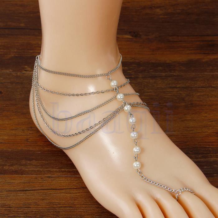 Plage multi gland orteil anneau bracelet cha ne lien pied bijoux cheville achat vente chaine - Anneau de gland ...