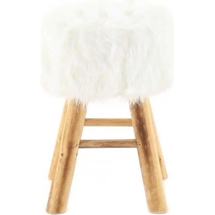pouf rond fourrure synth tique blanche et pin lasco achat vente pouf poire cdiscount. Black Bedroom Furniture Sets. Home Design Ideas