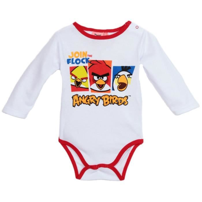 Body b b manches longues angry birds blanc rouge 3 23mois blanc blanc rouge achat vente - Angry birds rouge ...