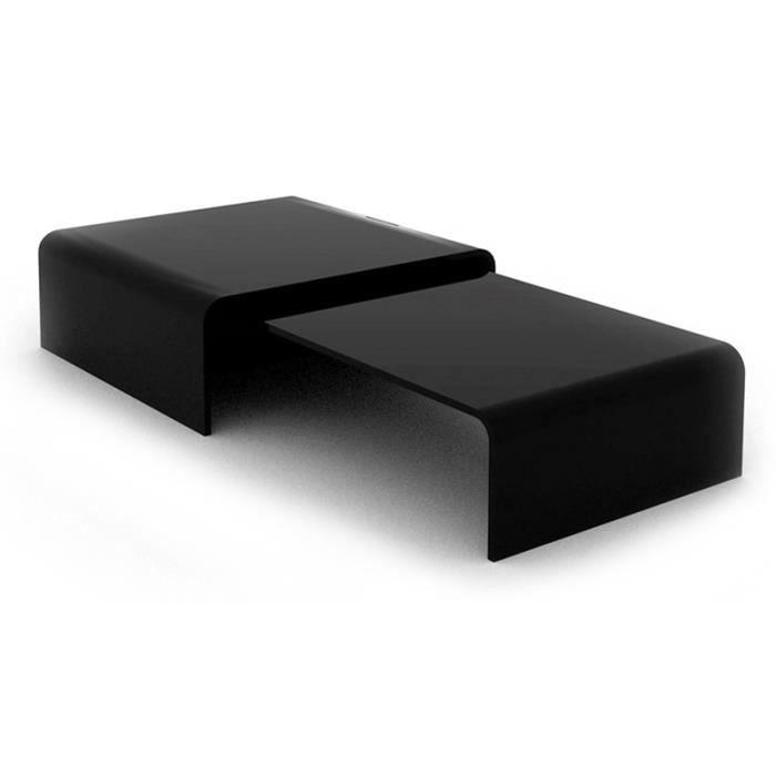 Table basse design double pont noire achat vente table - Table basse noire design ...
