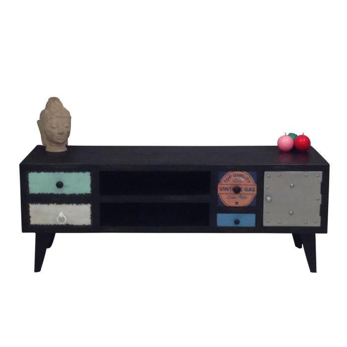 Meuble tv 4 tiroirs 1 porte 2 niches noir amine l for Meuble porte four