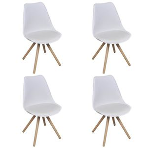Chaise blanche pied bois achat vente chaise blanche - Lot 4 chaises blanches ...