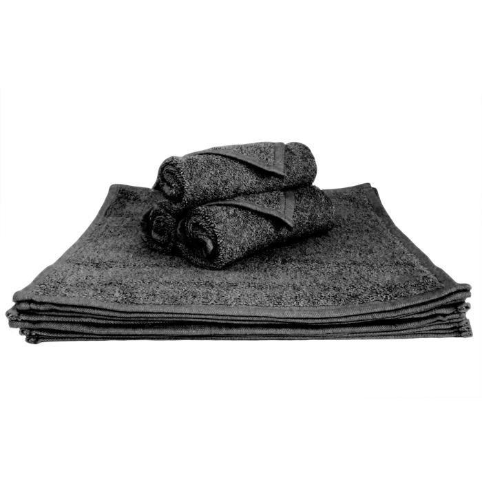 lot de 4 serviettes en coton spa hotel invit s couleur noir 30 x 30 cm achat vente. Black Bedroom Furniture Sets. Home Design Ideas