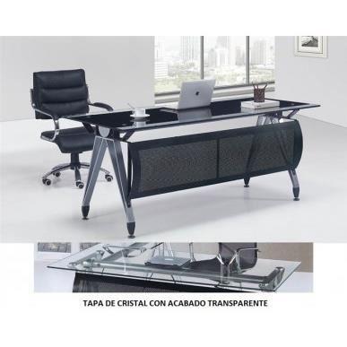 Bureau en verre transparent basilea tr 180x85 c achat for Meuble bureau en verre