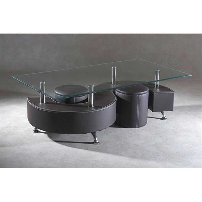 Table basse 2 poufs chocolat mountain achat vente for Table basse qui se rehausse