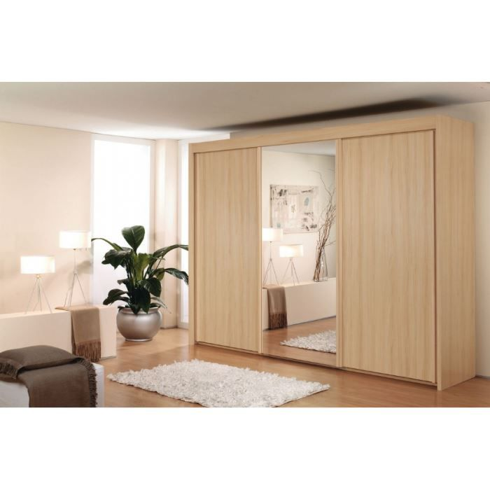 Armoire portes coulissantes avec miroir sur p achat - Miroir a accrocher sur porte ...