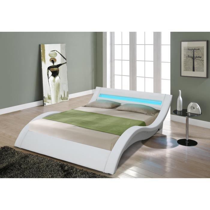 Pillow lit pu blanc mat a led 160 achat vente - Lit adulte led ...
