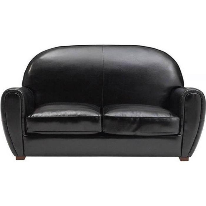 Canap design intemporel club en cuir bycast noir achat vente canap so - Canape design discount ...