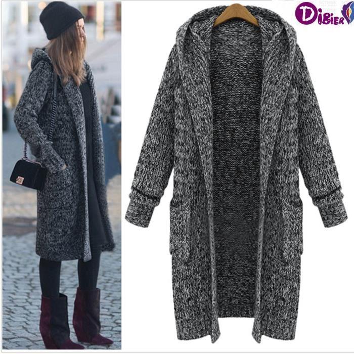 2016 nouvelle collection femmes cardigan plus size manteaux automne hiver paissir capuche long. Black Bedroom Furniture Sets. Home Design Ideas