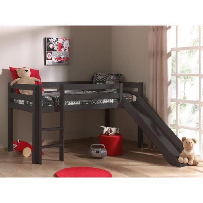 paris prix lit enfant avec toboggan pino gris achat vente lit combine cdiscount. Black Bedroom Furniture Sets. Home Design Ideas