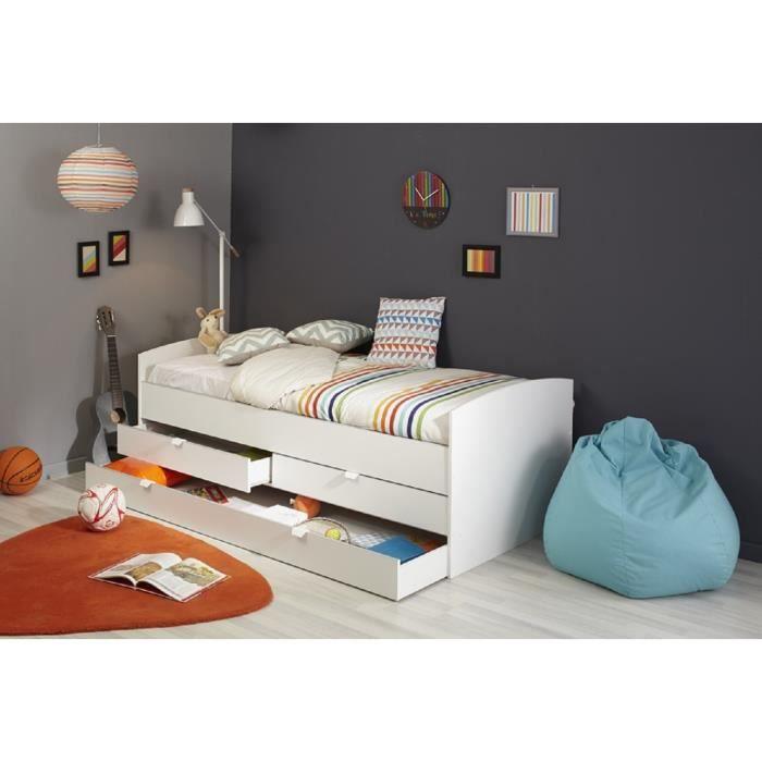 winter lit tiroirs enfant 90 x 190 cm blanc blanc achat vente structure de lit. Black Bedroom Furniture Sets. Home Design Ideas