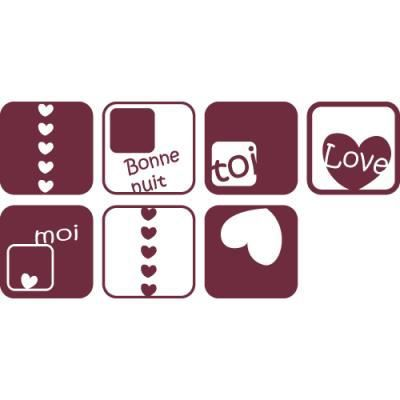 Stickers muraux cubes coeurs et textes love p 160 x 21 for Stickers chambre love