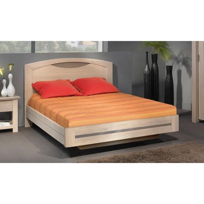 lit bois massif 160x200 beaumont ch ne naturel achat vente structure de lit soldes d. Black Bedroom Furniture Sets. Home Design Ideas