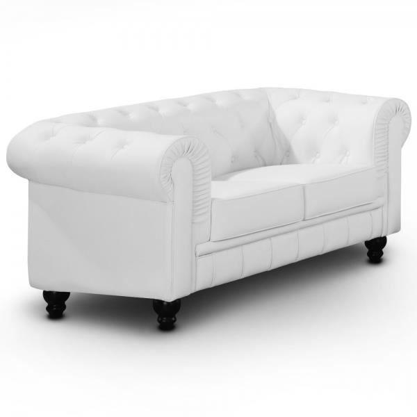 canap chesterfield blanc capitonn 2 places achat vente canap sofa divan soldes d. Black Bedroom Furniture Sets. Home Design Ideas