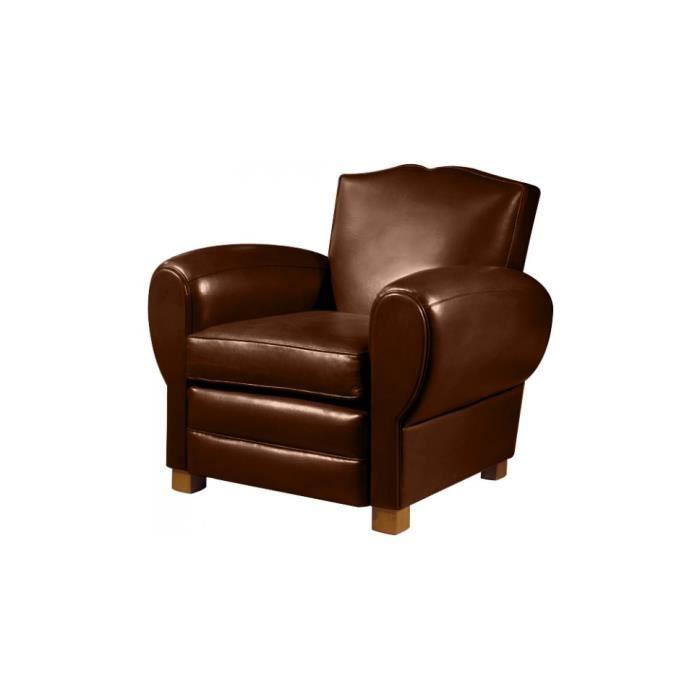 fauteuil club cuir basane chocolat dossier moustache achat vente fauteuil marron cdiscount. Black Bedroom Furniture Sets. Home Design Ideas