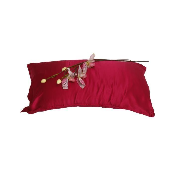 soie de luxe taie d 39 oreiller couleur cerise achat vente taie d 39 oreiller cdiscount. Black Bedroom Furniture Sets. Home Design Ideas