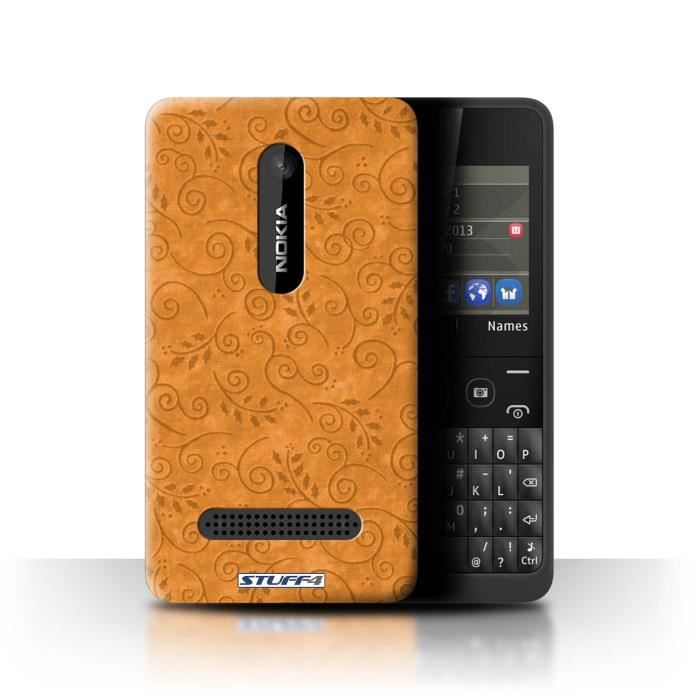 coque de stuff4 coque pour nokia asha 210 orange design motif feuille remous collection. Black Bedroom Furniture Sets. Home Design Ideas
