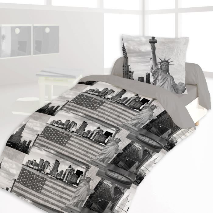 couette imprim e 140x200cm ny sightseeing achat vente couette cdiscount. Black Bedroom Furniture Sets. Home Design Ideas