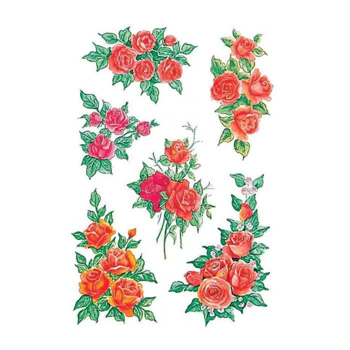 stickers decor bouquets de roses 3 feuilles 85 achat vente stickers cdiscount. Black Bedroom Furniture Sets. Home Design Ideas