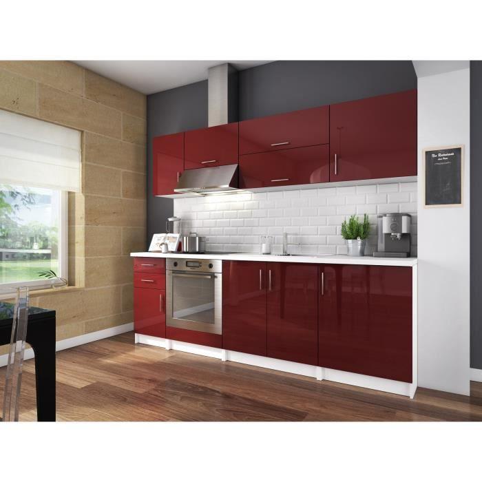 City cuisine compl te 2m40 bordeaux laqu haute brillance achat vente c - Cuisine moderne bordeaux ...