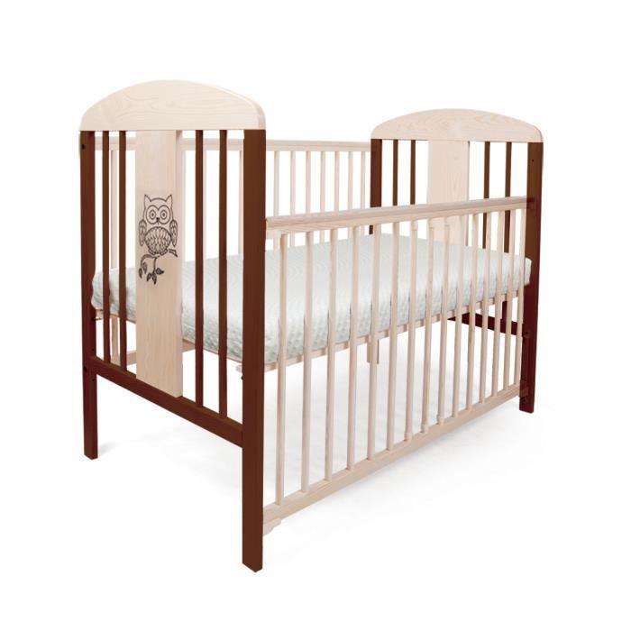 lit pour b b barreaux tomi 19 hibou barri re coulissante avec matelas et drap blanc. Black Bedroom Furniture Sets. Home Design Ideas