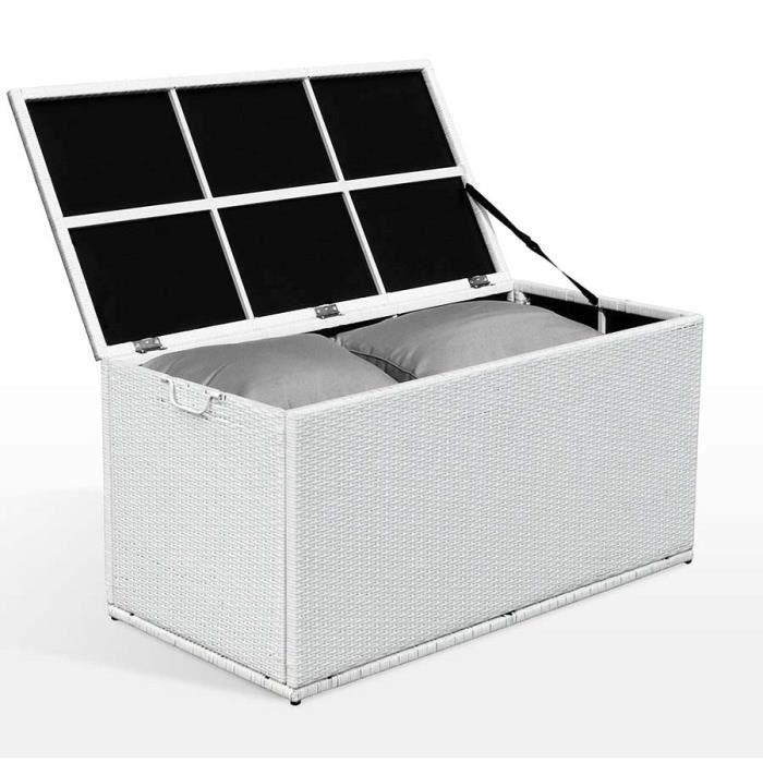 coffre de rangement blanc pour coussins salon de jardin en. Black Bedroom Furniture Sets. Home Design Ideas
