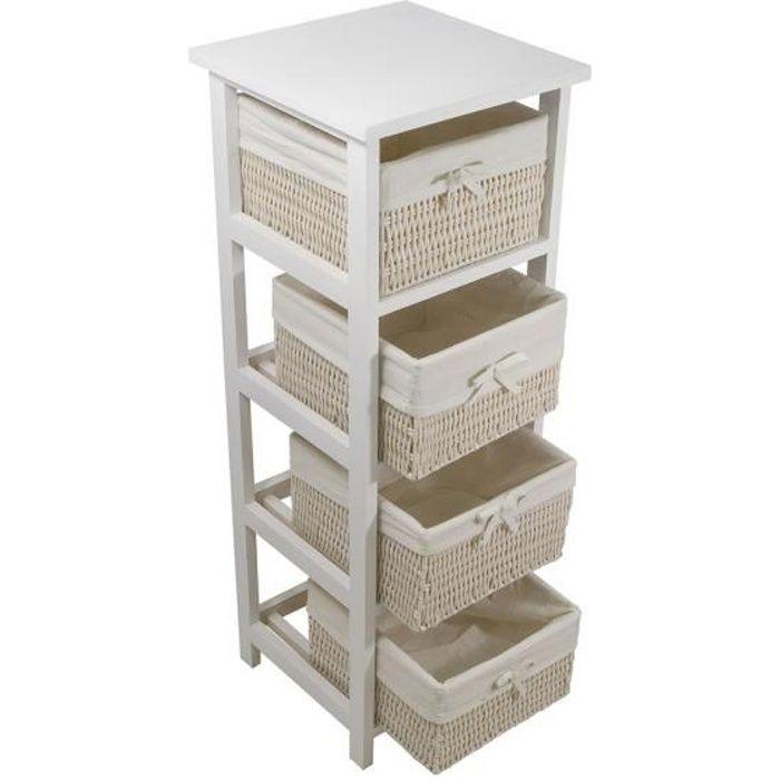 Palma colonne de salle de bain 30 cm 4 paniers blanc achat vente colonne armoire sdb for Colonne salle de bain bois
