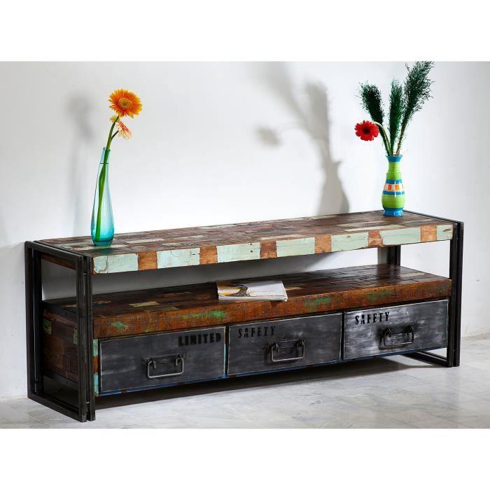 Meuble tv qu bec avec 3 tiroirs en bois dur multicolore for Meuble tv quebec