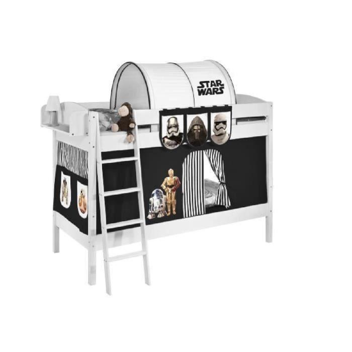 lits superpos s ida 4105 star wars noir avec rideaux et deux sommier lattes lilokids. Black Bedroom Furniture Sets. Home Design Ideas