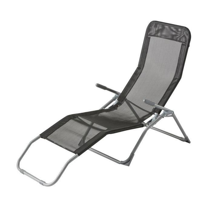 Chaise longue siesta hesperide noir achat vente chaise for Chaise longue jardin hesperide