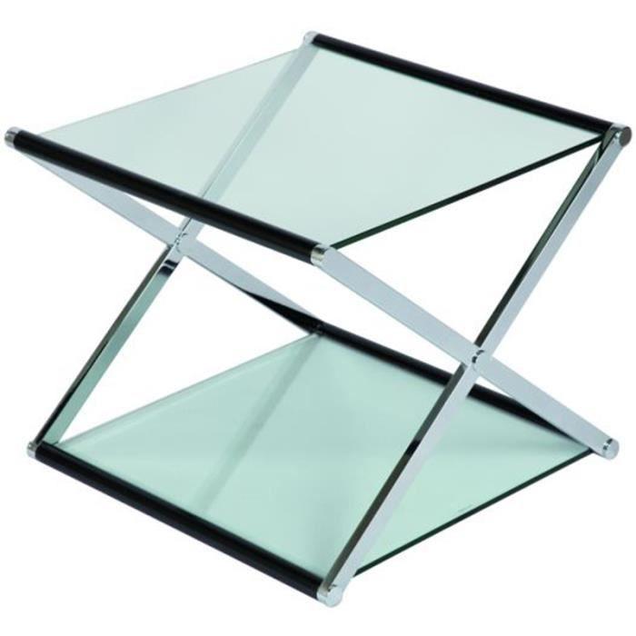 Table basse en verre carr e fixe l600 x p600 x achat vente table basse table basse en - Table basse verre carree ...