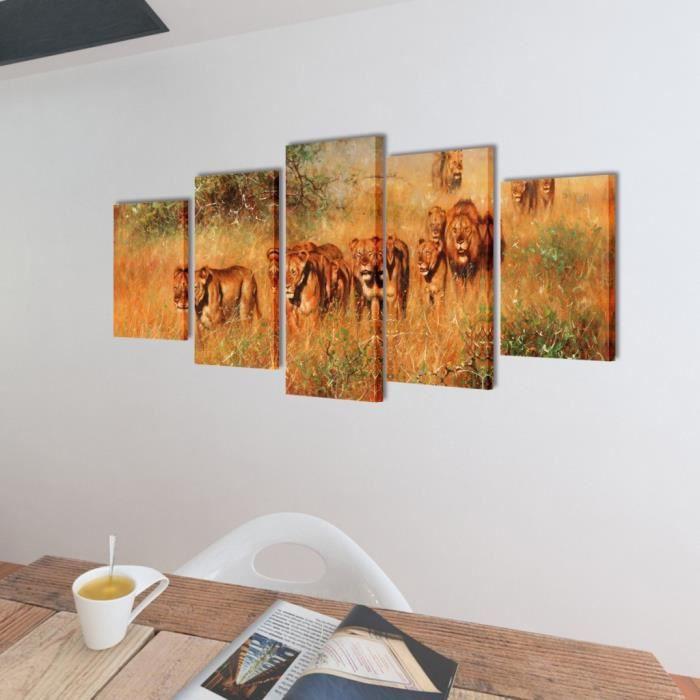 Toile murale lion achat vente toile murale lion pas for Toile murale pas cher