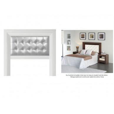 t te de lit vittro 160x140 cm blanc patin avec capitonnage carr argent achat vente t te. Black Bedroom Furniture Sets. Home Design Ideas