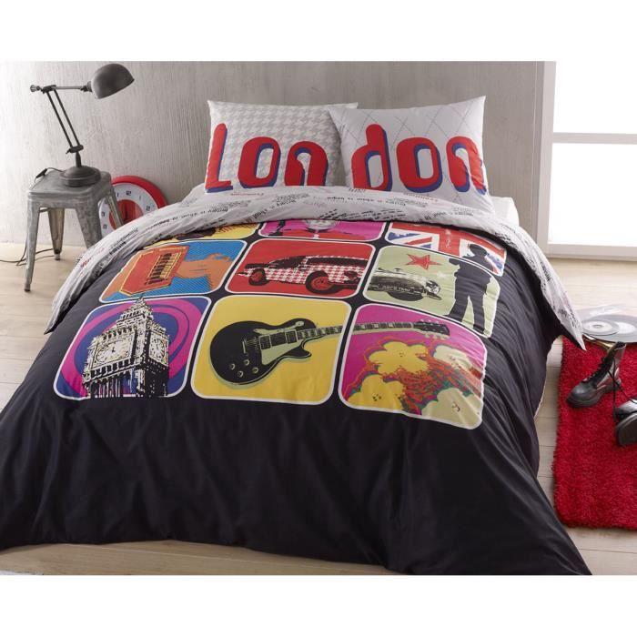 parure housse de couette en 100 coton london 200 x 200 cm 2 taies d 39 oreiller 65 x 65 cm. Black Bedroom Furniture Sets. Home Design Ideas