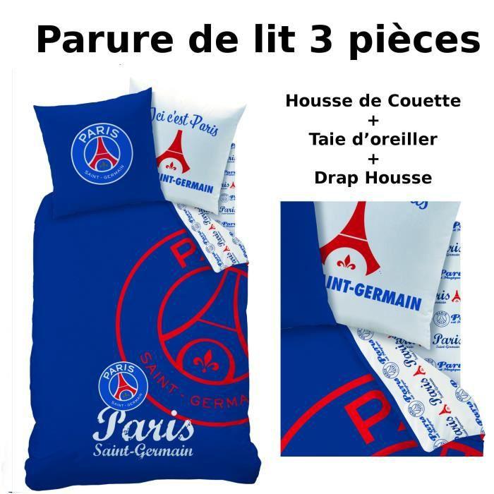 Parure de lit 3pcs housse de couette taie d 39 oreiller for Housse de couette psg