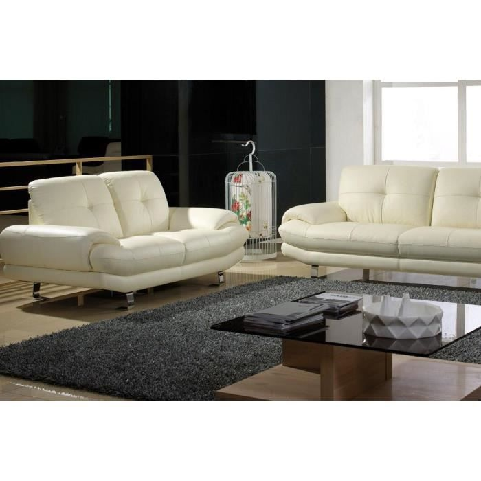salon cuir sup rieur 3 2 places beige swan achat vente canap sofa divan cdiscount. Black Bedroom Furniture Sets. Home Design Ideas
