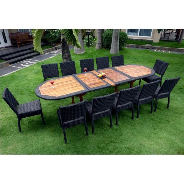 Salon de jardin en teck et r sine grande taille 12 chaises achat vente salon de jardin salon for Housse de table de jardin en resine